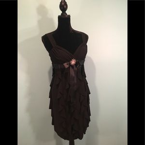 Cache Black Layered Tiered Dress Size 2